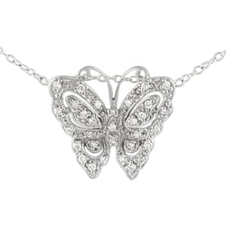 Journee Collection Sterling Silver CZ Vintage Butterfly Pendant