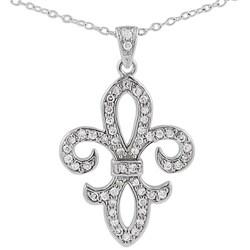 Tressa Sterling Silver CZ Fleur de Lis Pendant
