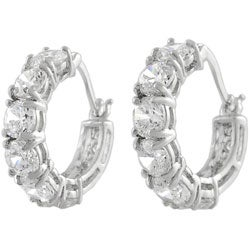 Tressa Sterling Silver Hoop Earrings with Six CZ Stones