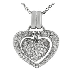 Journee Collection Sterling Silver CZ 'Heart Within a Heart' Necklace