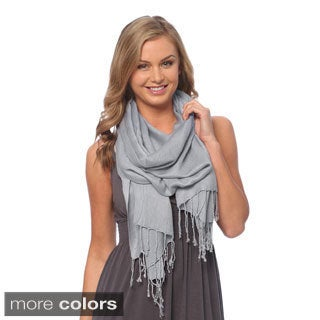 Super Soft Solid Viscose Faux Pashmina Wraps Model 6281 (3 Pack)