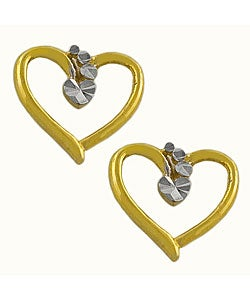 Fremada 14k Two-tone Gold Precious Hearts Earrings