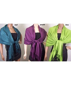 Super Soft Solid Viscose Faux Pashmina Wraps Model 6285 (3 Pack)
