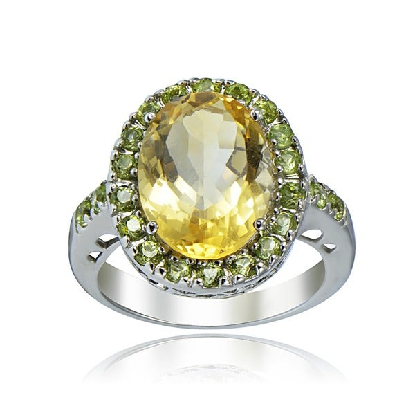 Glitzy Rocks Sterling Silver 6.5 CTW Citrine and Peridot Ring