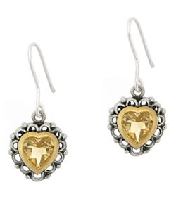 Glitzy Rocks Sterling Silver Citrine Heart Earrings