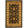 Lyndhurst Collection Majestic Black/ Ivory Rug (5'3 x 7'6)