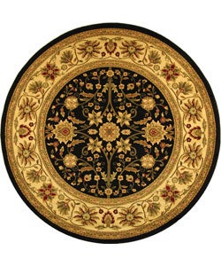 Lyndhurst Collection Majestic Black/ Ivory Rug (5' 3 Round)