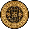 Lyndhurst Collection Majestic Black/ Ivory Rug (8' Round)