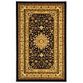 Lyndhurst Collection Mashad Black/ Ivory Rug (5'3 x 7'6)