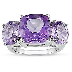 Miadora  Silver Amethyst and Rose de France Quartz Ring