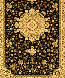 Lyndhurst Collection Mashad Black/Ivory Rug (8' x 11')
