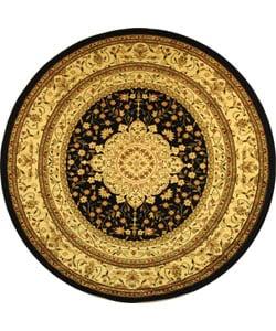 Lyndhurst Collection Mashad Black/ Ivory Rug (8' Round)
