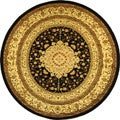 Lyndhurst Collection Mashad Black/ Ivory Rug (8' Round)