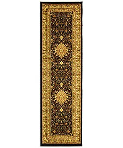 Lyndhurst Collection Mashad Black/ Ivory Runner (2'3 x 8')