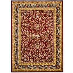 Lyndhurst Collection Persian Treasure Red/ Black Rug (5'3 x 7'6)