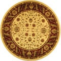 Lyndhurst Collection Tabriz Ivory/ Red Rug (5' 3 Round)
