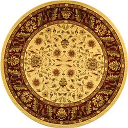 Lyndhurst Collection Tabriz Ivory/ Red Rug (8' Round)