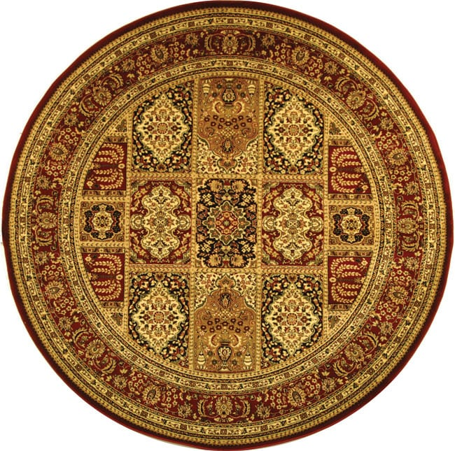 Lyndhurst Collection Isfan Red/ Multi Rug (5 3 Round) (RedPattern OrientalMeasures 0.375 inch thickTip We recommend the use of a non skid pad to keep the rug in place on smooth surfaces.All rug sizes are approximate. Due to the difference of monitor col