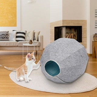 Kinbor Felt Cat Cave, 3-in-1 Feline Bed House, Pet Tent Bed, Self-Warming Kitty Condo