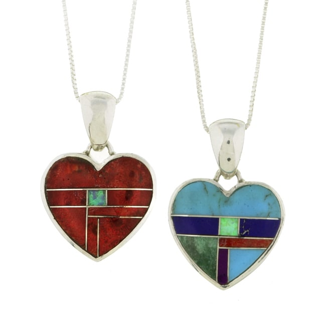 Sterling Silver Multi-stone Heart Necklace