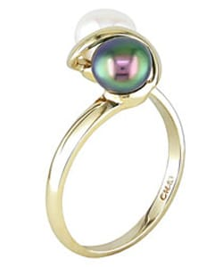 Miadora 10k Gold Cultured Black & White Freshwater Pearl Ring