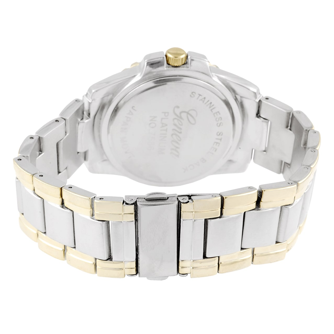Geneva Platinum Men's Round Bezel Link Watch