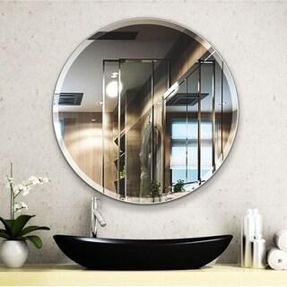 Porch & Den Salix Beveled Frameless 24-inch Round Wall Mirror