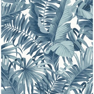 Grant Navy Palm Leaf Wallpaper