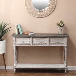 Wood and Metal Farmhouse Distressed Console Table