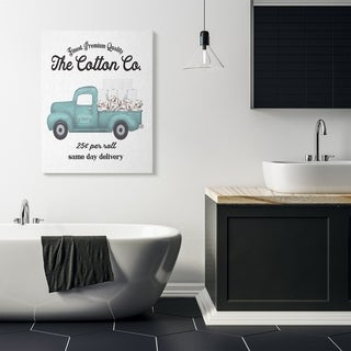 Stupell Industries Toilet Paper Cotton Co Delivery Truck Bathroom Word Design Canvas Wall Art, Proudly Made in USA