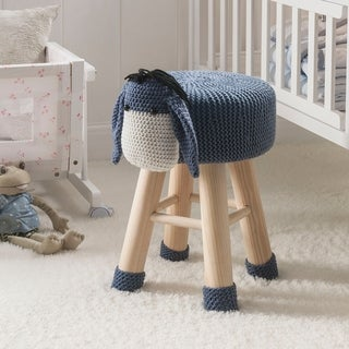 Taylor & Olive Modern Woven Grey Donkey Ottoman Stool with Wooden Legs