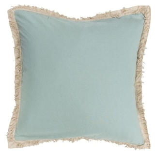 """Rizzy Home Solid with Fringe 20""""X20"""" Polyester Filled Pillow"""
