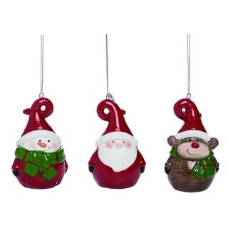 Transpac Terracotta Red Christmas Santa Snowman and Reindeer Ornament Set of 3