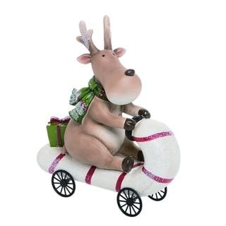 Transpac Resin White Christmas Candy Cane Car Moose Figurine