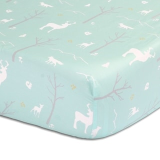 The Peanut Shell Woodland Print Cotton Fitted Crib Sheet in Mint
