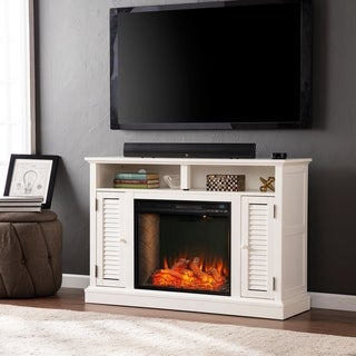 Porch & Den Andersen White Alexa Enabled Media Fireplace with Storage