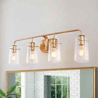"Glam 4-lights Golden Bathroom Wall Sconce with Seeded Glass Shade for Powder Room - L31""xE5.5""x H 9"""