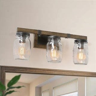 Carbon Loft Miesen Rustic 3-light Wall Sconce Mason Jar Glass Lighting