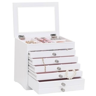 High Large Gloss Wooden Jewellery Box Armoire Bracelet Organizer Storage 5 Layers