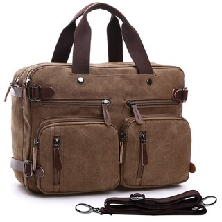 Dasein Unisex Vintage Multi Pockets Convertible Satchel / Backpack