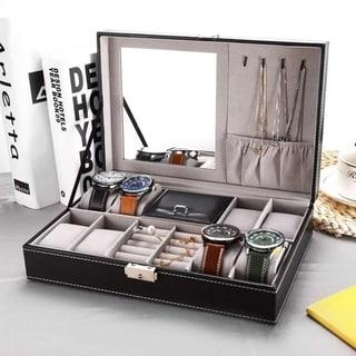 Jewelry Box 8 Slots Watch Organizer Storage Case with Lock and Mirror for Men Women