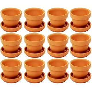 Juvale Small Terra Cotta Pots with Saucer- 12-Pack Clay Flower Pots with Saucers