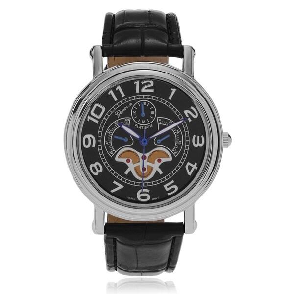Geneva Platinum Men's Faux Leather Classic Reserve Watch