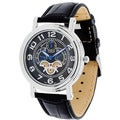 Geneva Platinum Men&#39;s Leather Band Watch