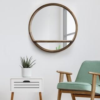 Carson Carrington Paarp Brown Round Wooden Wall Mirror