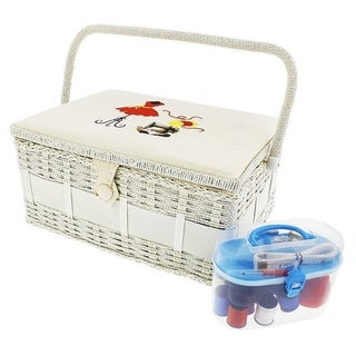 Vintage Sewing Basket Organizer Box Kit with Hand Sewing Supplies, Rectangular