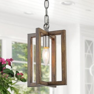 "Farmhouse Pendant Lighting with Faux Wooden Hanging Ceilling Light for Kitchen,Dining Room - W6.5""xH10.2"""
