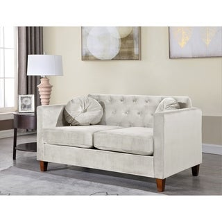 Persaud velvet Kitts Classic Chesterfield Loveseat