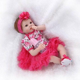 "22"" Mini Cute Simulation Baby Toy in Floral Lace Dress Red - silicone material"
