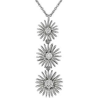 Miadora 18k White Gold 1/3ct TDW Diamond Flower Necklace (G-H-I, SI)